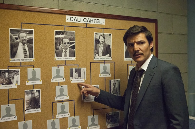 Pedro Pascal dans la troisième saison de Narcos.